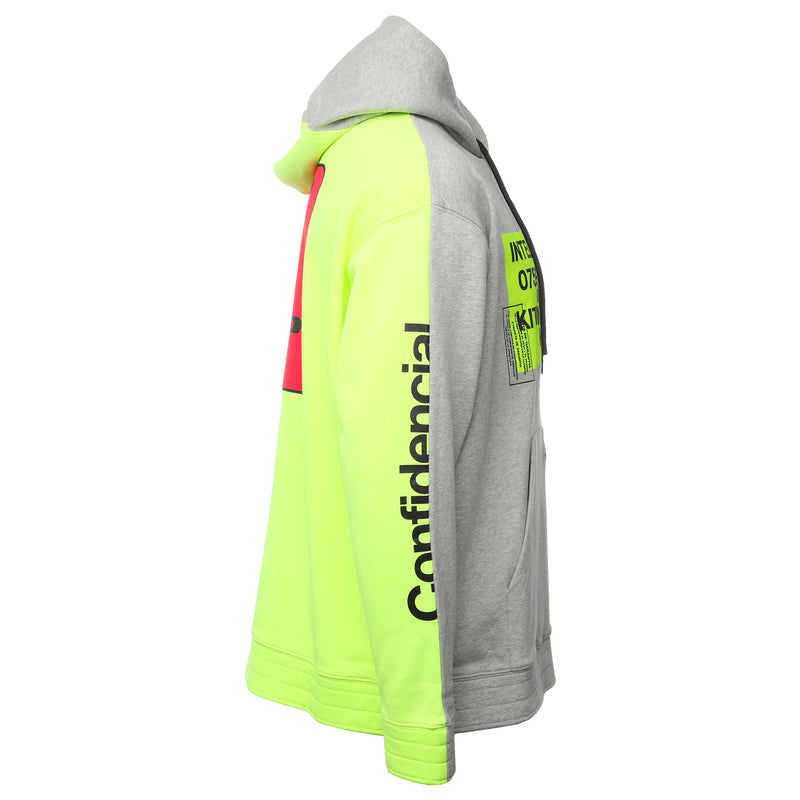 Grey and Yellow Split Contaminacion Oversized Hoodie