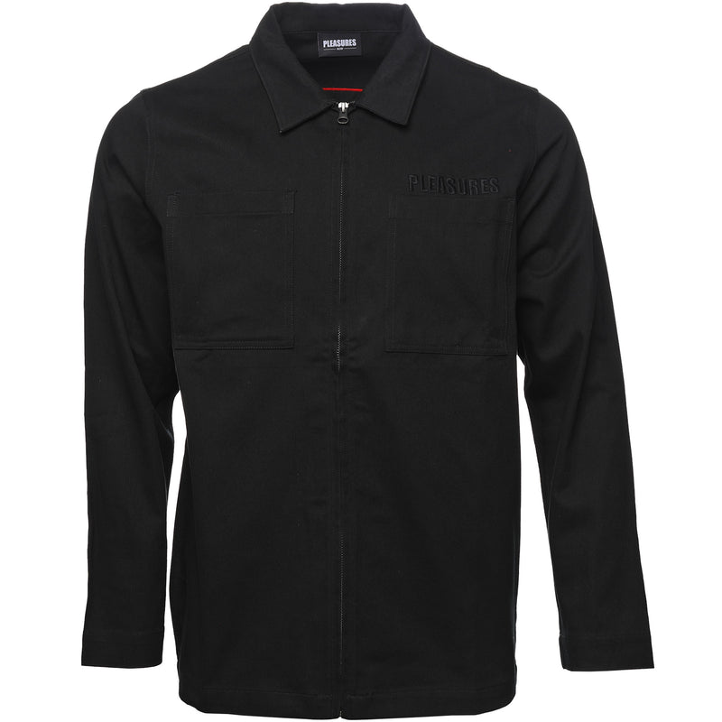 Pleasures Black Garage Shirt Jacket Front