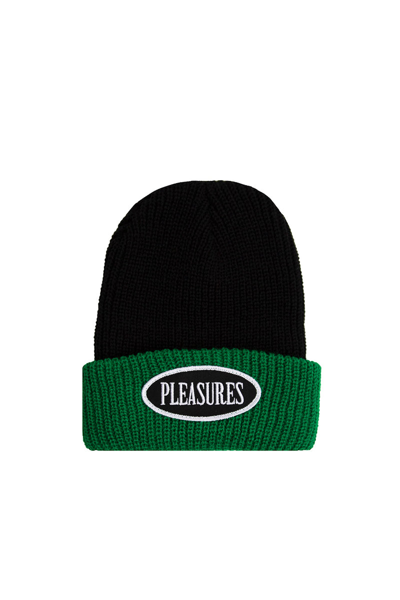 Pleasures - Black Logo Two Tone Beanie | 1032 SPACE