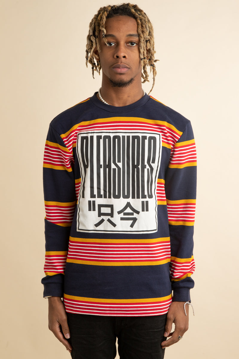 Pleasures - Blue Electronics Striped Long Sleeve T-Shirt