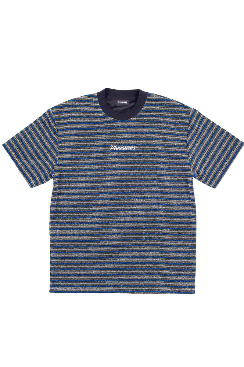 Pleasures - Blue Disturbed Glitter Stripe T-Shirt