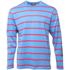 Plesasures - Blue Scream Striped Long Sleeve T-Shirt