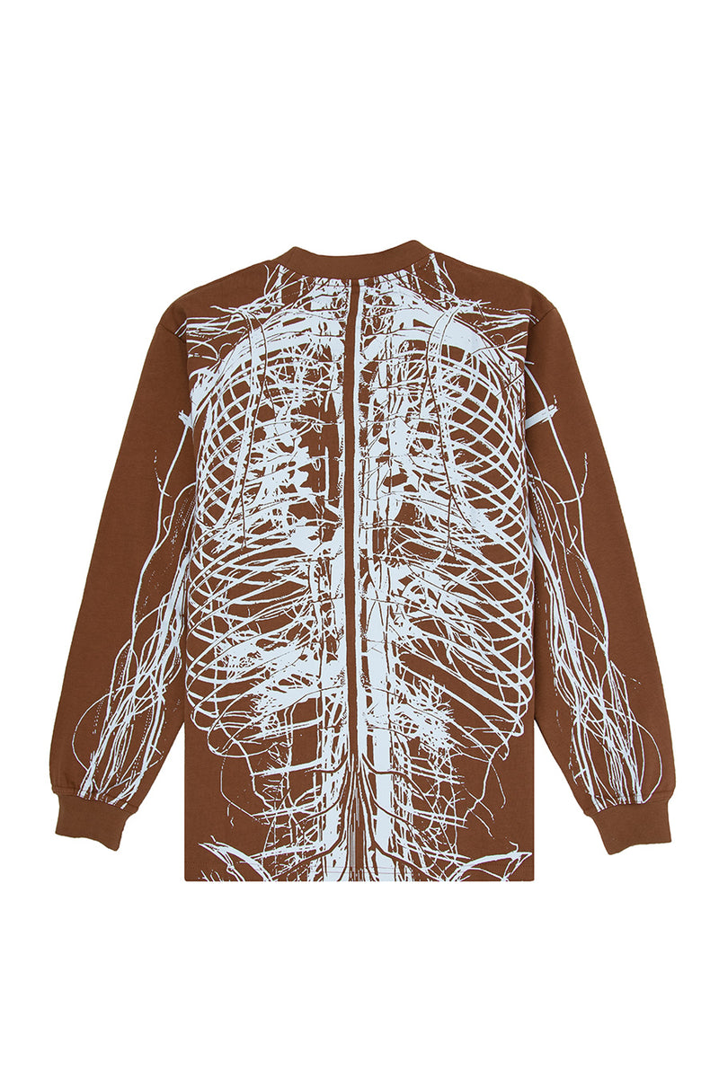 Pleasures - Brown Nervous Long Sleeve T-Shirt | 1032 SPACE