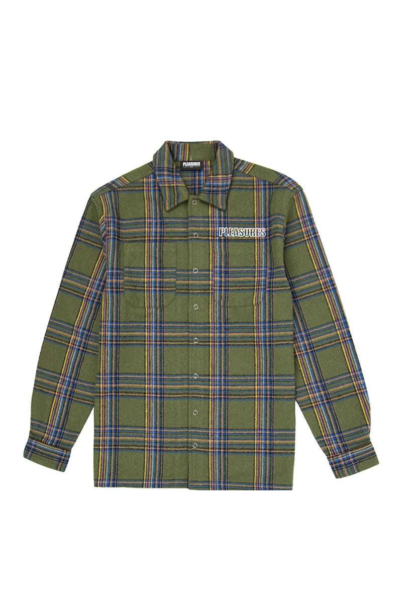 Pleasures - Green Heavyweight Flannel Shirt | 1032 SPACE