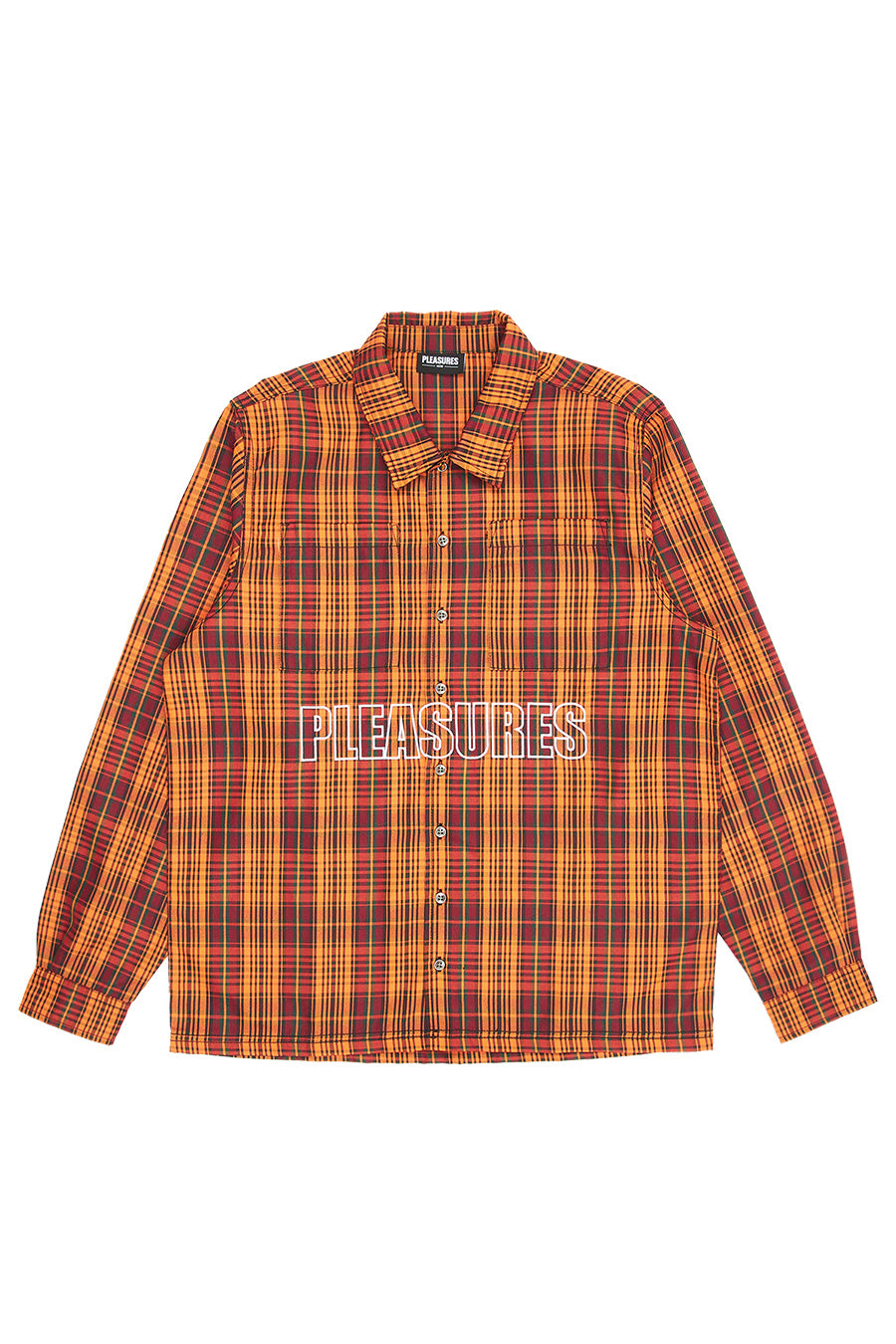 Pleasures - Orange Shade Plaid Work Shirt | 1032 SPACE