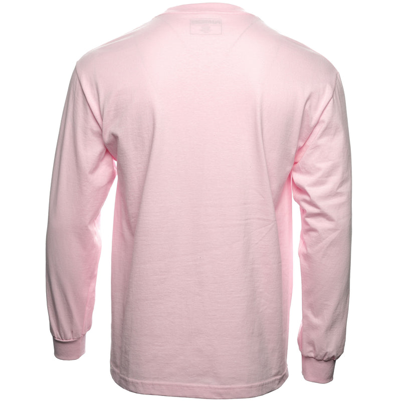 Pink Core Logo Embroidered Long Sleeve T-Shirt