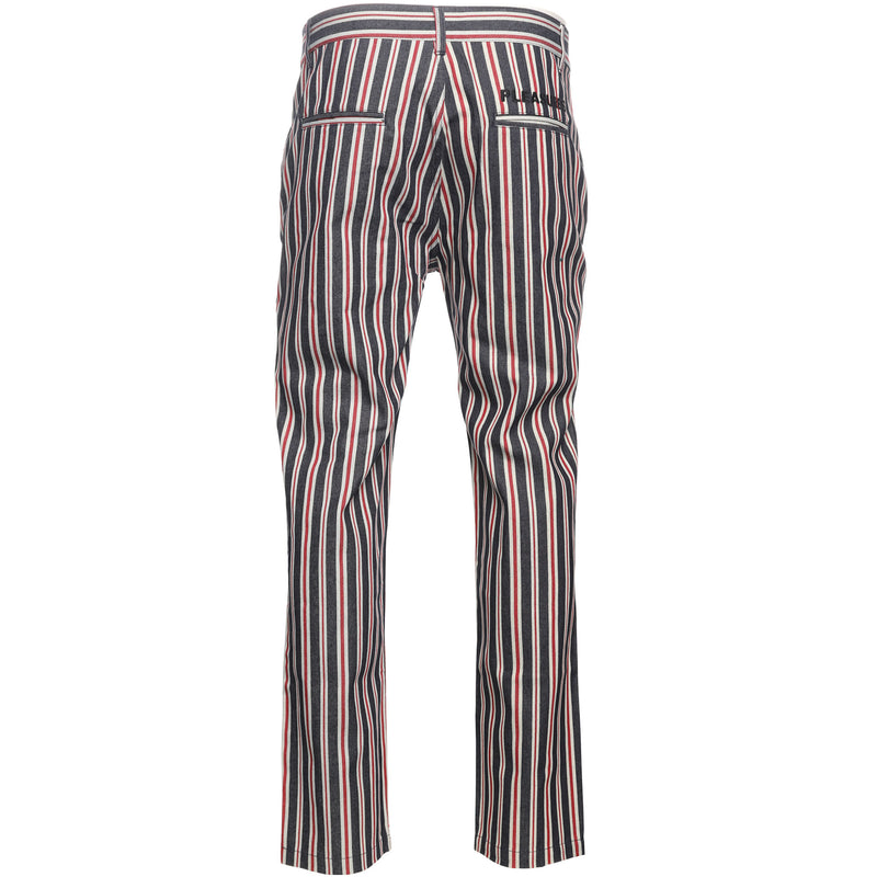 Red & Blue Striped Denim Pant