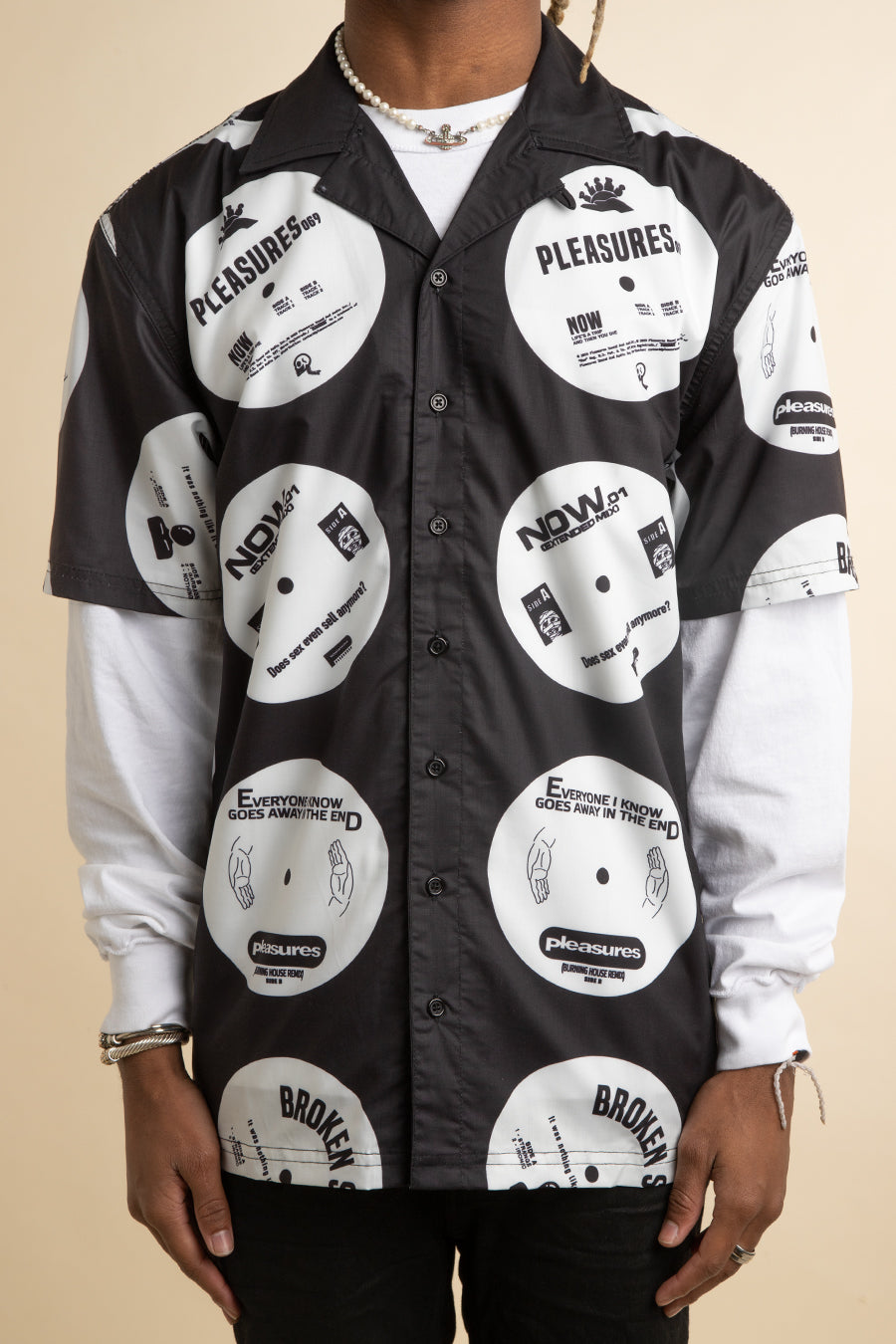 Pleasures - Black & White Side A Button Down