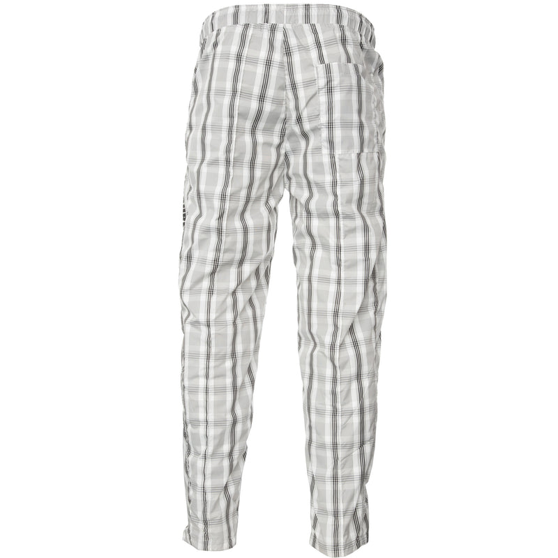 White and Black Plaid Collision Track Pants