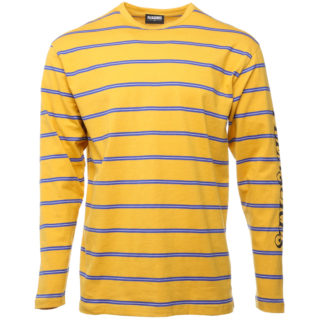 Pleasures - Yellow Scream Striped Long Sleeve T-Shirt