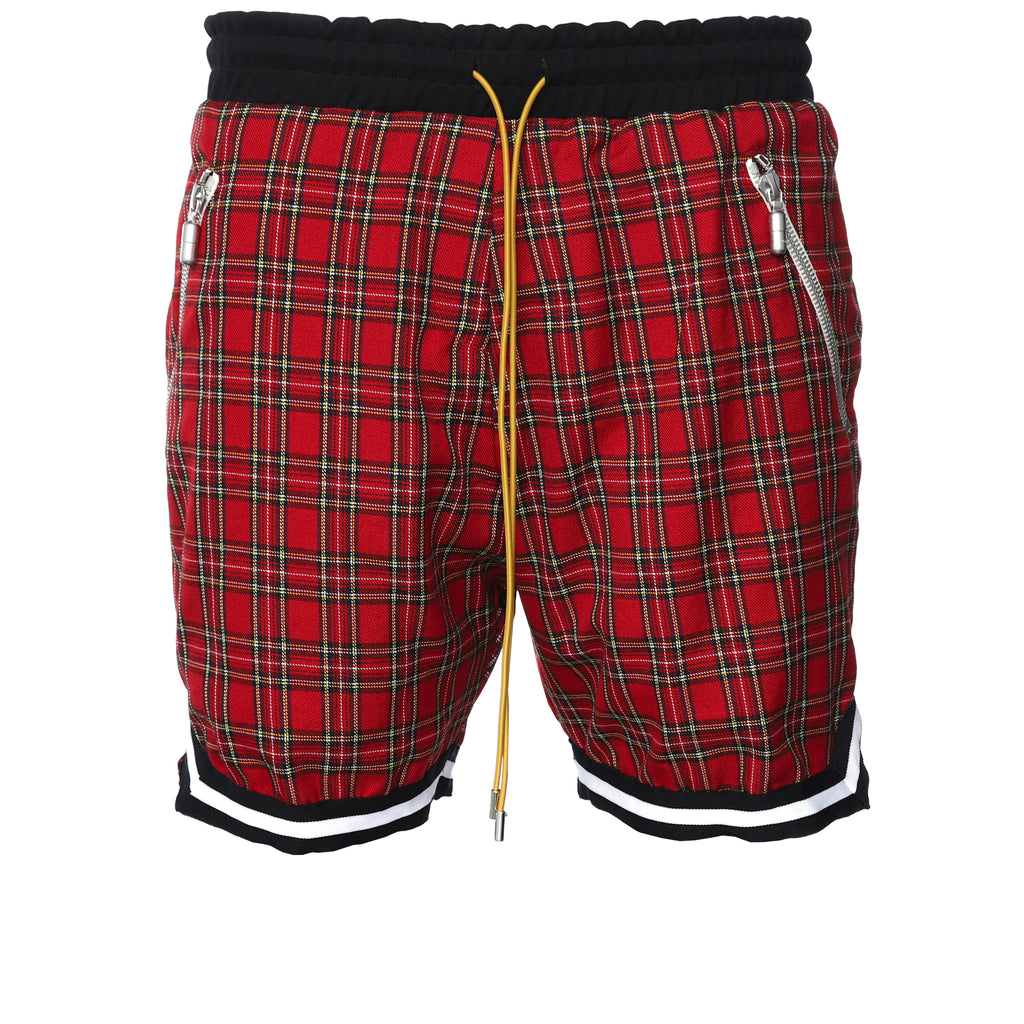 Red Plaid Basketball Shorts