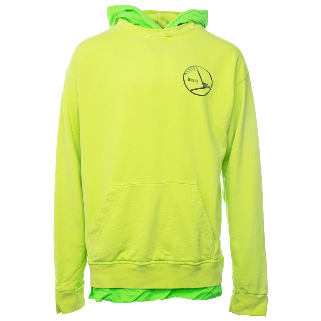 Green Neon Layered French Terry Hoodie