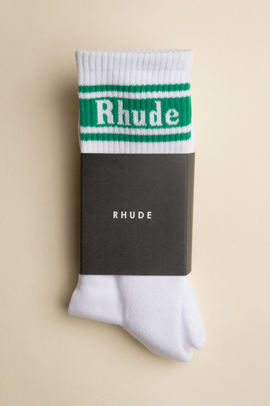 Rhude - Green Stripe Logo Socks