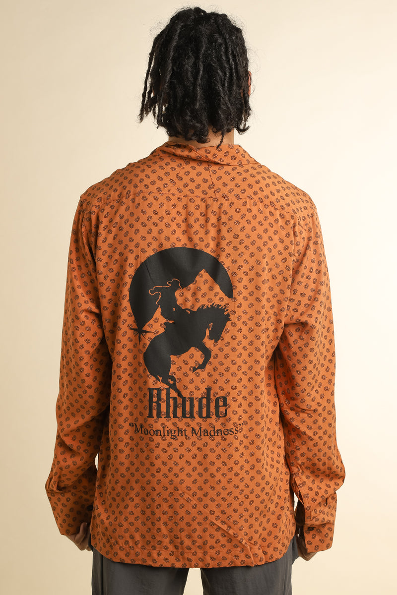 Rhude - Orange Moonlight Madness Hawaiian Shirt