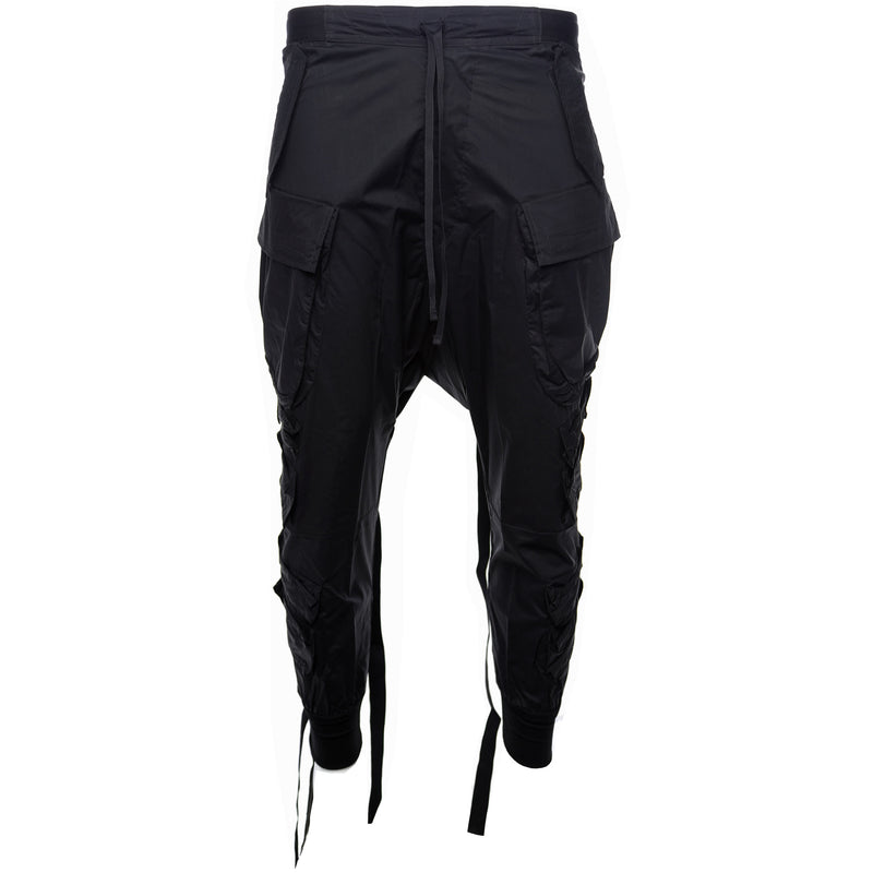 Unravel Project by Ben Taverniti Black Tapered Cotton Cargo Pants Front