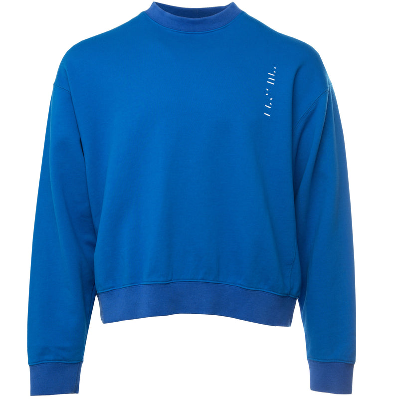 Blue Unravel Project by Ben Taverniti To Create French Terry Pullover Crewneck Sweatshirt with Broken Logo Screen Print on Front left pocket