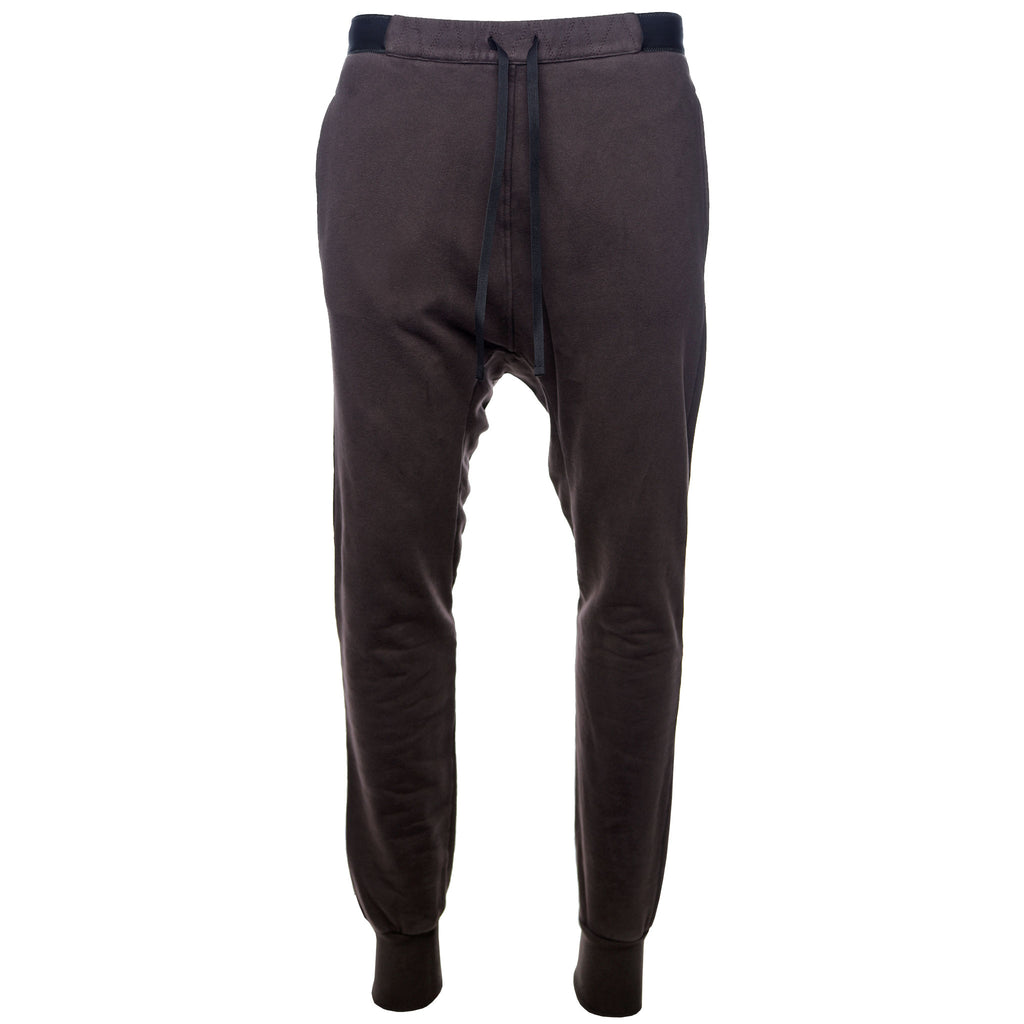Brown Brushed Terry Drop Crotch Sweatpant
