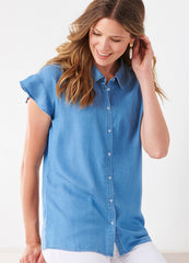 Tencel Shirt with Flutter Sleeves