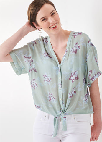 Femme Flower Button-Up Top
