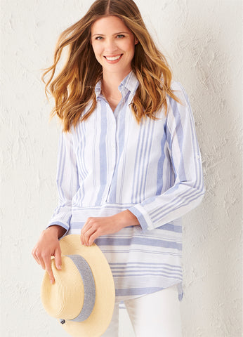 Curvy Business Stripe Tunic