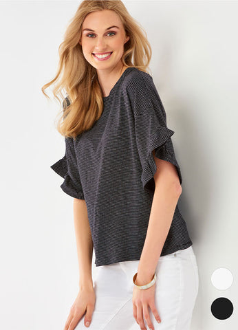 Ruffle Sleeve Stripe Top