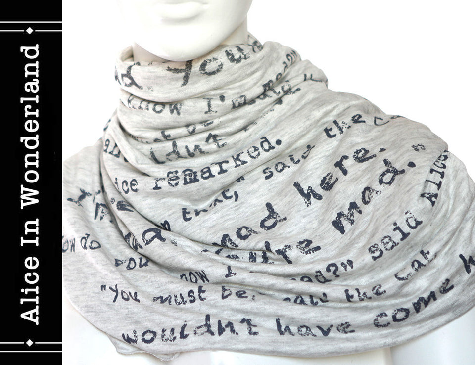 Alice in Wonderland Book Scarf by Lewis Carroll