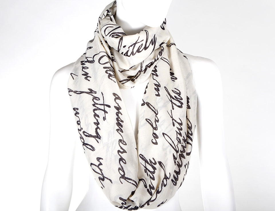 Cursive WritingText Design Book Scarf