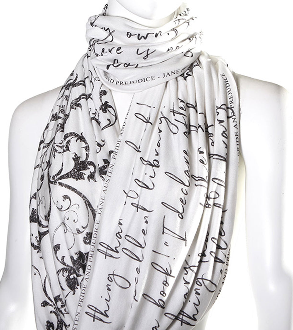 """Pride and Prejudice"" book scarf. ""The Library"" Quote"