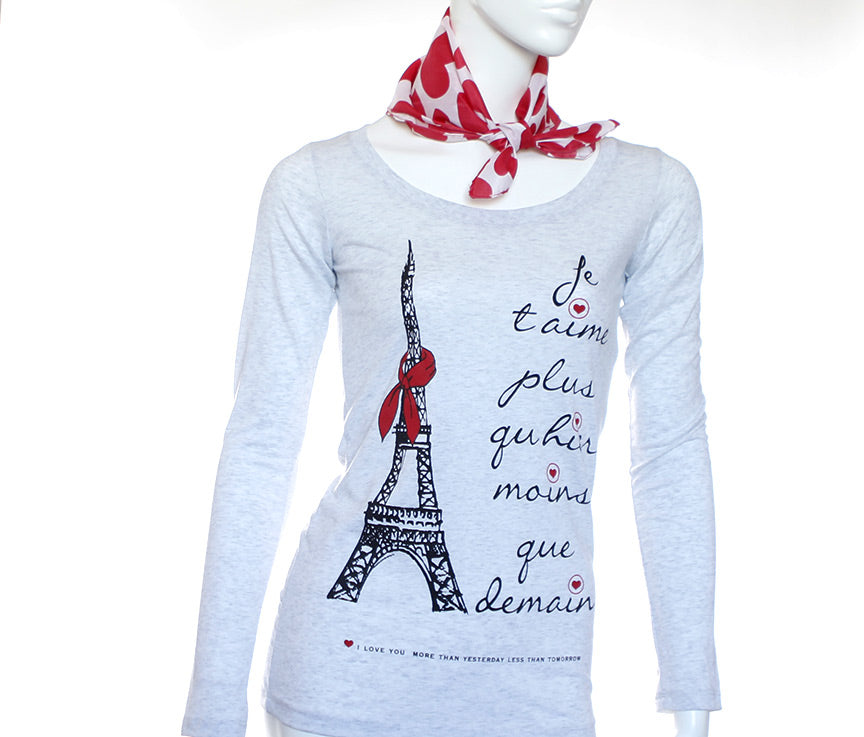 Romantic t-shirt - Paris - Je t'aime - Heather White