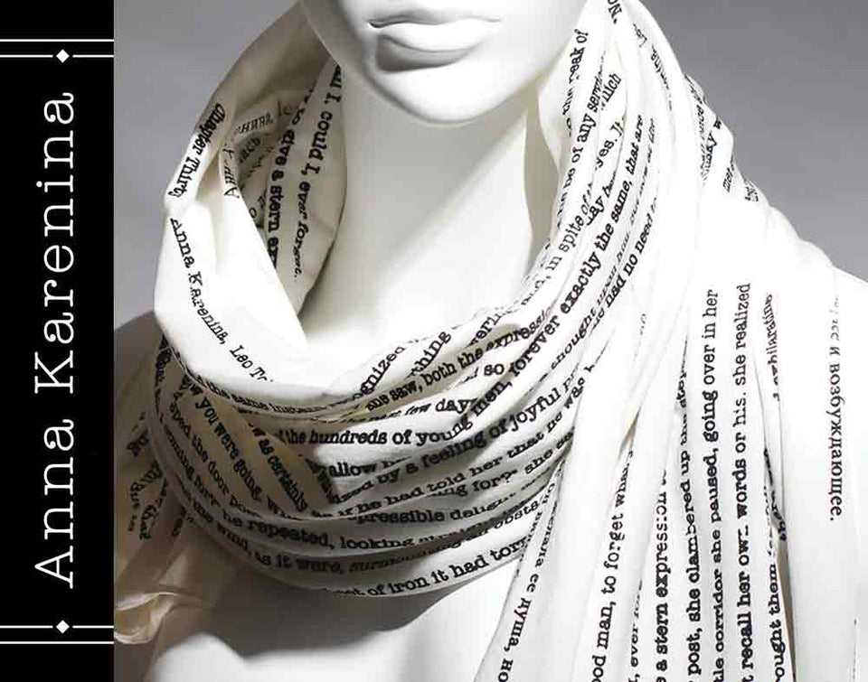 Anna Karenina book on the scarf - Love Story Infinity Scarf