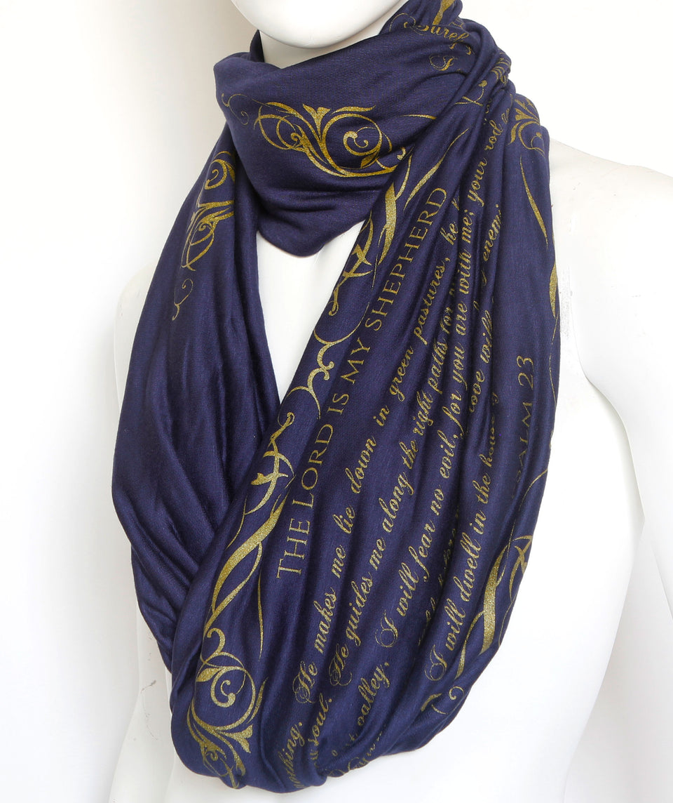 The BIBLE book scarf  PSALM 23  NAVY BLUE