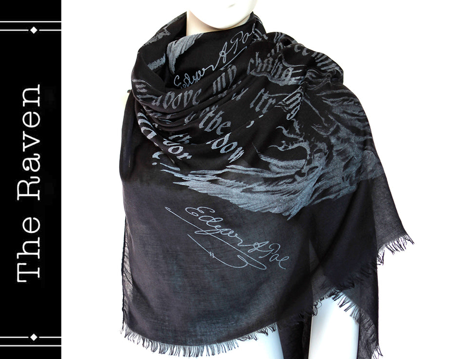 The Raven book scarf by Edgar Poe