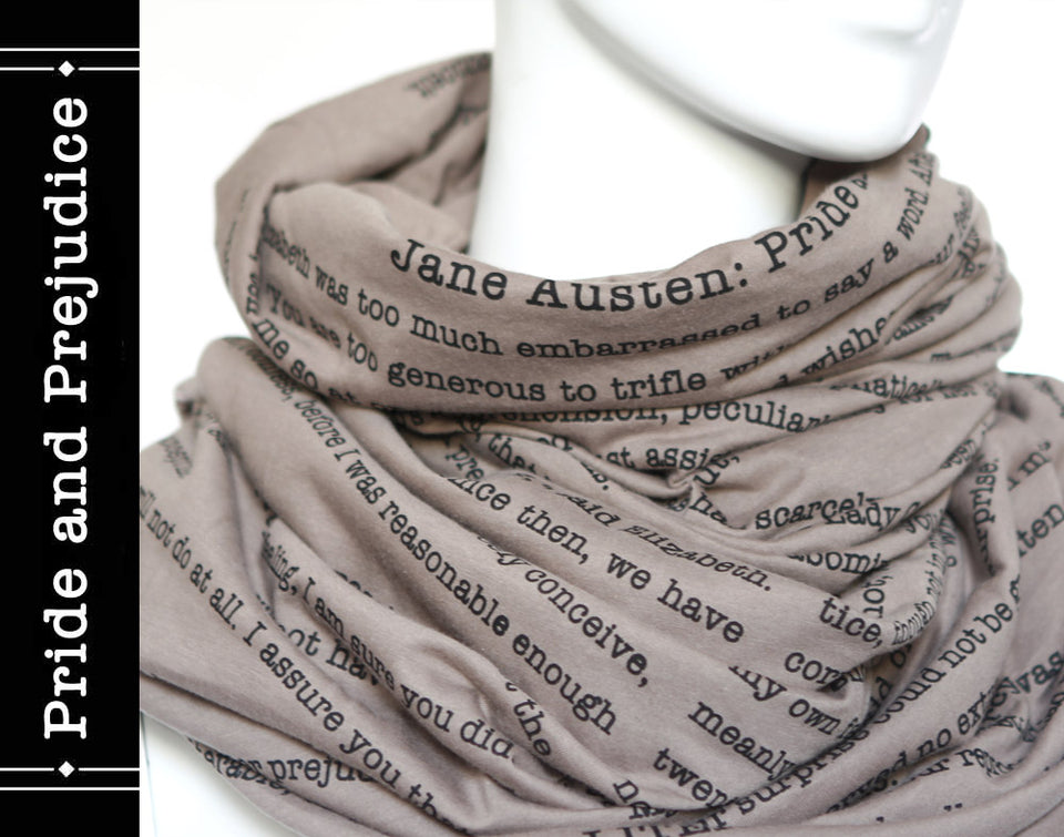 Pride and Prejudice book scarf by Jane Austen - Cappuccino Color
