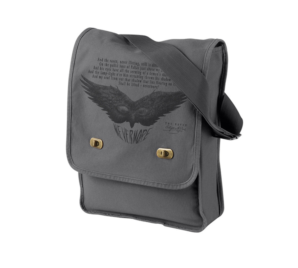 The Raven - Book on the bag - Edgar Poe -Messenger bag - gray