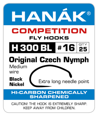 Barbless Hooks HANAK Competition H 300 BL Czech Nymph