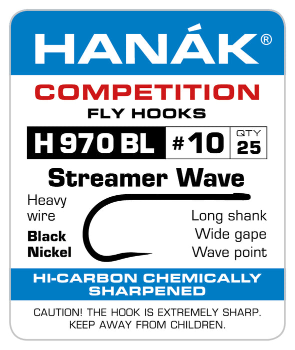 Barbless Hooks HANAK Competition H 970 BL Streamer Wave