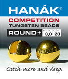 Hanak Competition Tungsten Beads ROUND + Gold