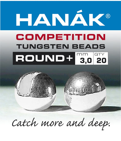 Hanak Competition Tungsten Beads ROUND + Silver