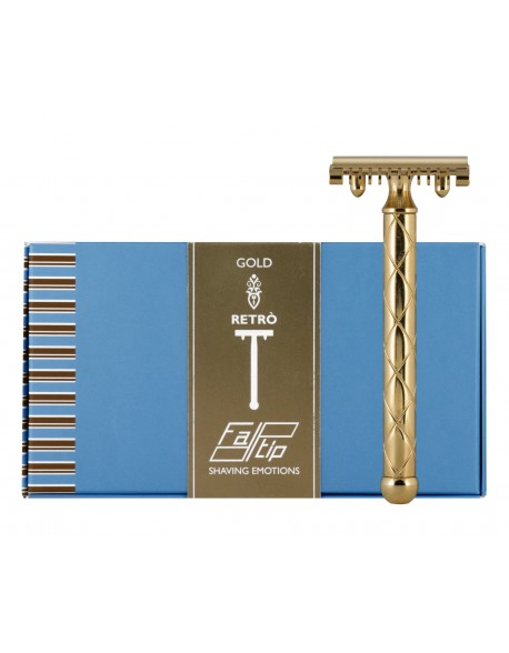 Fatip Retro Double Edge Safety Razor - Open Comb Gold
