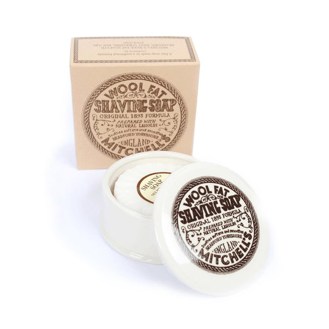 Mitchell's Wool Fat - Ceramic Shaving Dish & Shaving Soap 125gr