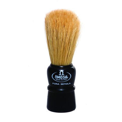 Omega - 100% Boar bristle shaving brush, Plastic handle, Assorted colours - 10086