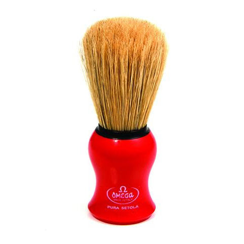 Omega - Boar Bristle Shaving Brush, Red - 10065R