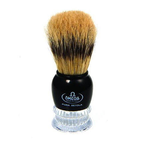 Omega - Boar Bristle Shaving Brush With Chromed ABS Handle - 10275
