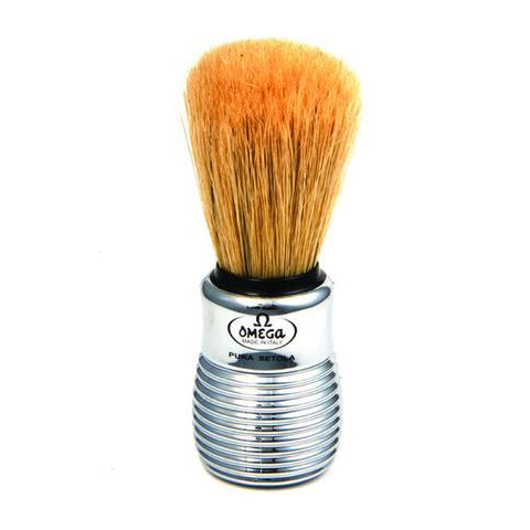 Omega - Boar Bristle Shaving Brush With Chromed Plastic Handle - 10081