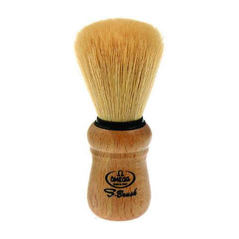 Omega - Synthetic Fiber Shaving Brush, Beech Wood Handle - S10005