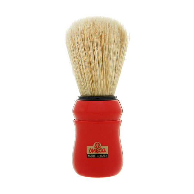 Omega - Boar Bristle Shaving Brush, ABS handle, Red - 10049