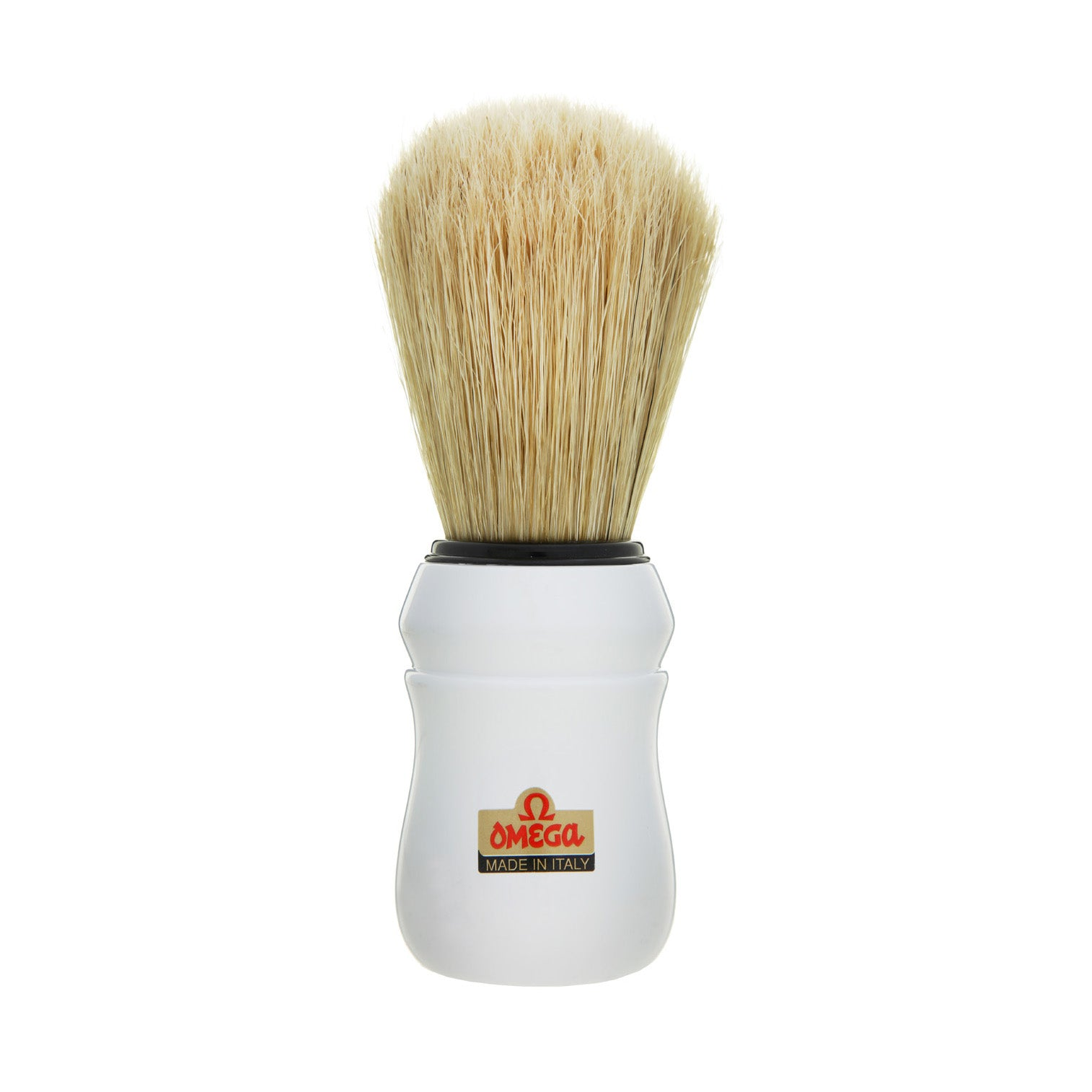 Omega - Boar Bristle Shaving Brush, ABS handle, White - 10049
