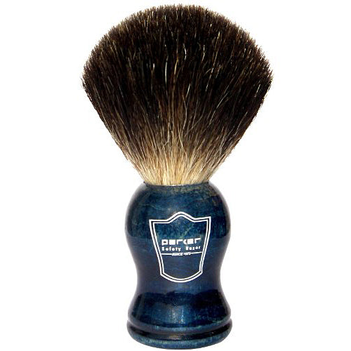 Parker - BLBB Blue Wood Handle, Black Badger Shaving Brush
