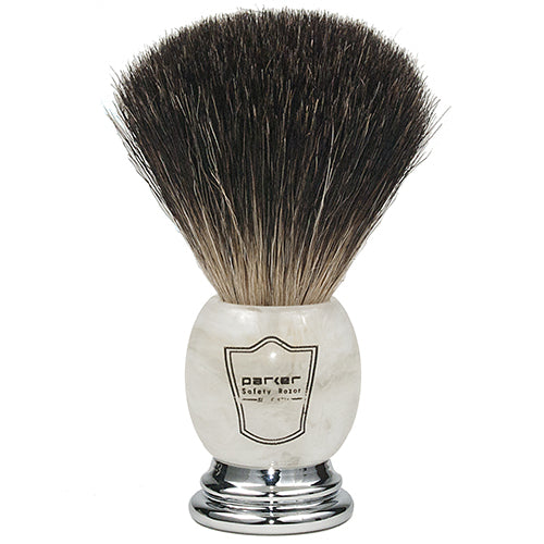 Parker - MIBB Marbled Ivory Handle, Black Badger Shaving Brush