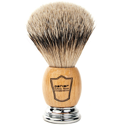 Parker - OWST Deluxe Wood/Chrome Handle, Silvertip Badger Shaving Brush